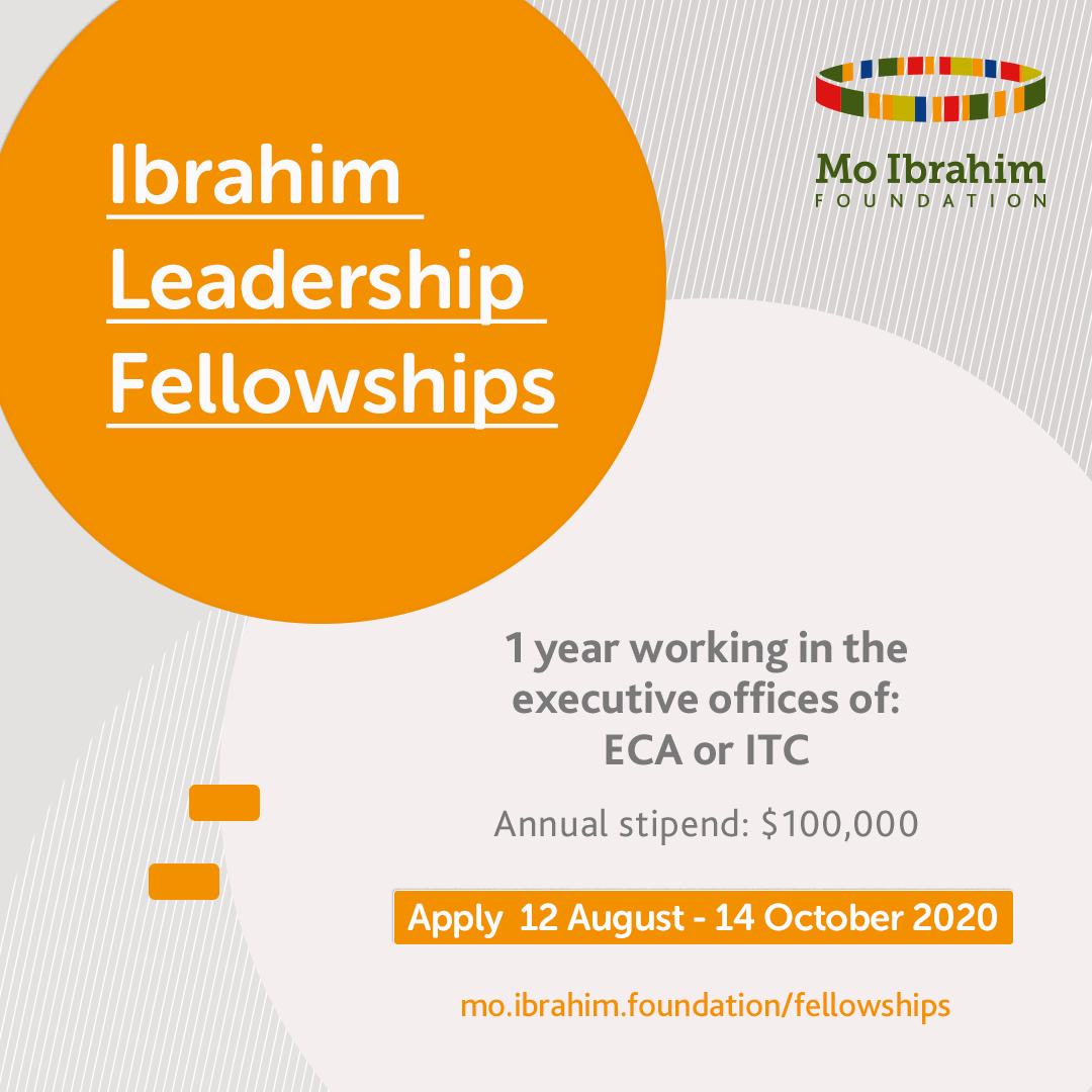 $100,000 Annual Stipend at the Ibrahim Leadership Fellowships for Africans